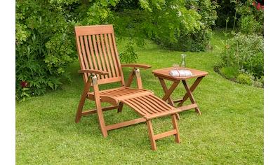 MERXX Gartenmöbelset »Commodoro«, 2tlg., Sessel, Hocker, klappbar, Eukalyptusholz, natur kaufen