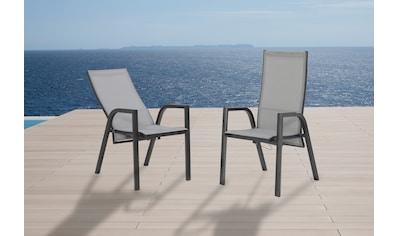 MERXX Gartenstuhl »San Remo«, (2er Set), Alu/Textil, verstellbar, silber kaufen