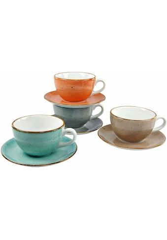 CreaTable Cappuccinotasse »VINTAGE NATURE«, (Set, 8 tlg.), 4 Tassen, 4 Untertassen kaufen