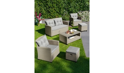 KONIFERA Loungeset »Lorca«, (12 St.), 2-er Sofa, 2 Sessel, Tisch 9x55 cm, Polyrattan kaufen