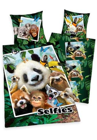 Kinderbettwäsche »Selfies Dschungeltiere«, mit tollem Dschungeltier-Motiv kaufen