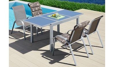 MERXX Gartenmöbelset »Amalfi«, 5 - tlg., 4 Sessel, Tisch 90x120 - 180 cm, Alu/Textil kaufen