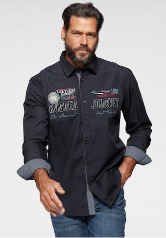 Man's World Langarmhemd, mit hochwertigen Applikationen kaufen