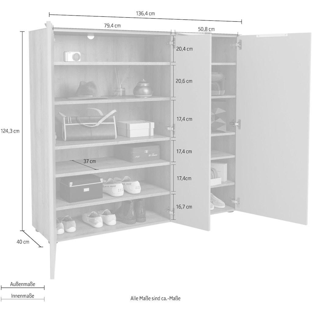 Maja Möbel Schuhschrank »TREND Schuhschrank 2577«, Oberplatte Glas, 3 gedämpfte Türen mit 10 höhenverstellbaren Einlegeböden
