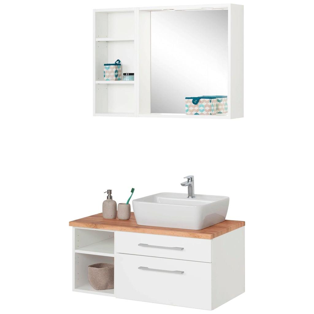 HELD MÖBEL Badmöbel-Set »Davos«, (3 St.), Waschplatz mit Regal und Spiegel