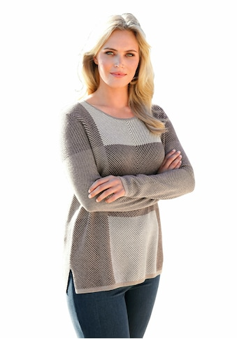 Anna Aura Strickpullover »mit groß-kariertem Jacquard-Muster«, und Schlitzen kaufen