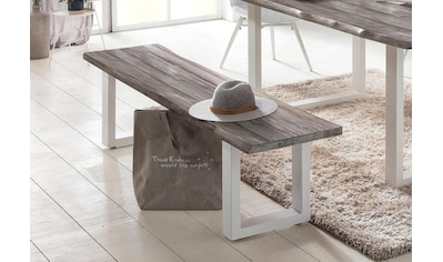 Home affaire Sitzbank »Maryland«, mit Baumkantenoptik und weißem Metallgestell kaufen