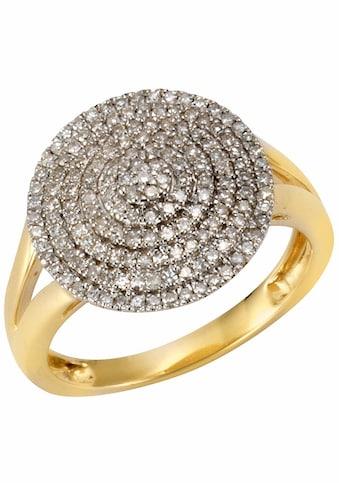 Firetti Diamantring »Glamour, seitlich ausgestanzte Ringschiene«, mit Diamanten kaufen