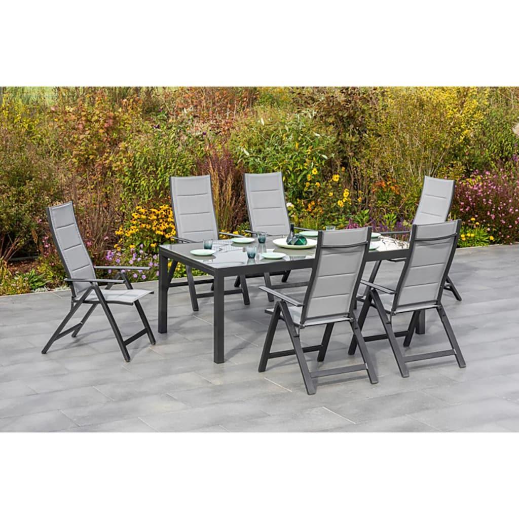 MERXX Gartenmöbelset »Florenz«, (7 tlg.), 6 Klappsessel mit ausziehbarem Tisch