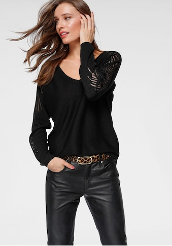 Laura Scott V-Ausschnitt-Pullover, mit Burn Out-Muster am Ärmel kaufen