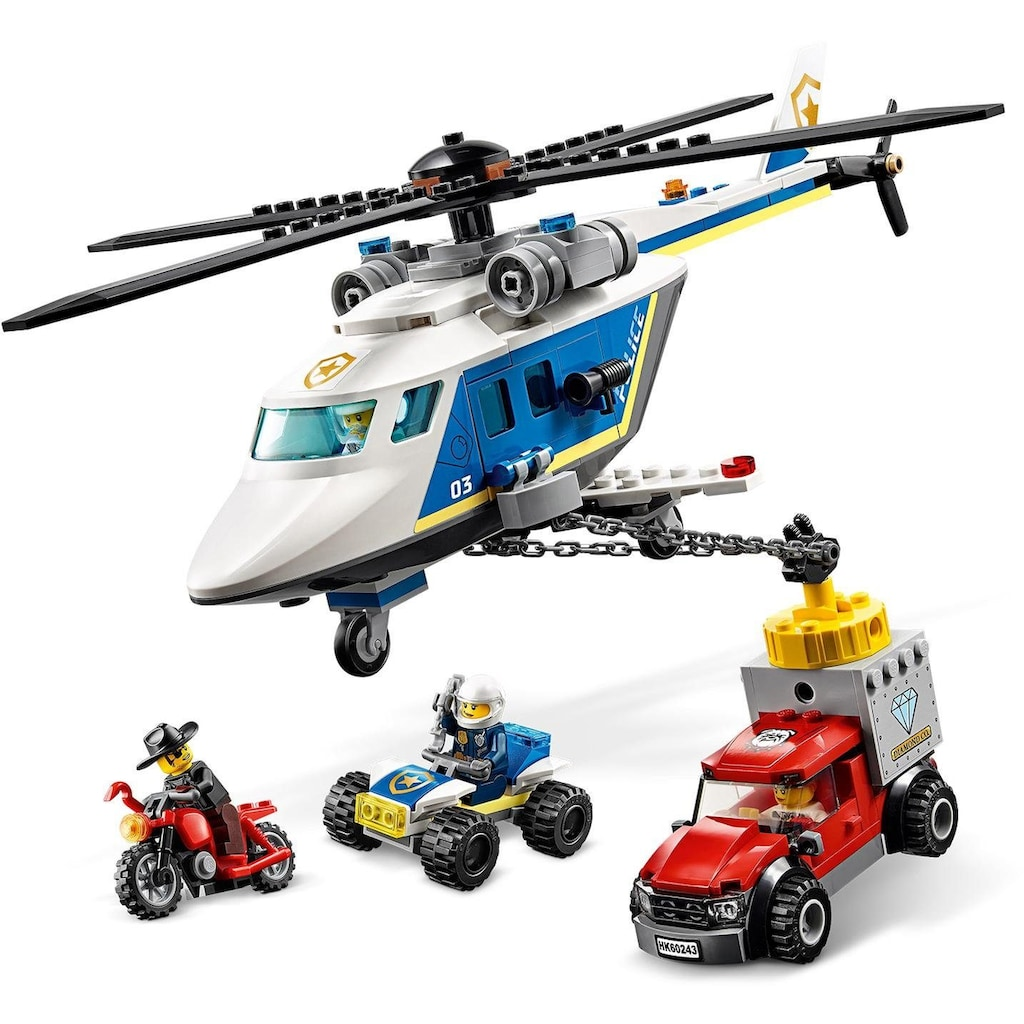 LEGO® Konstruktionsspielsteine »Verfolgungsjagd mit dem Polizeihubschrauber (60243), LEGO® City«, (212 St.)