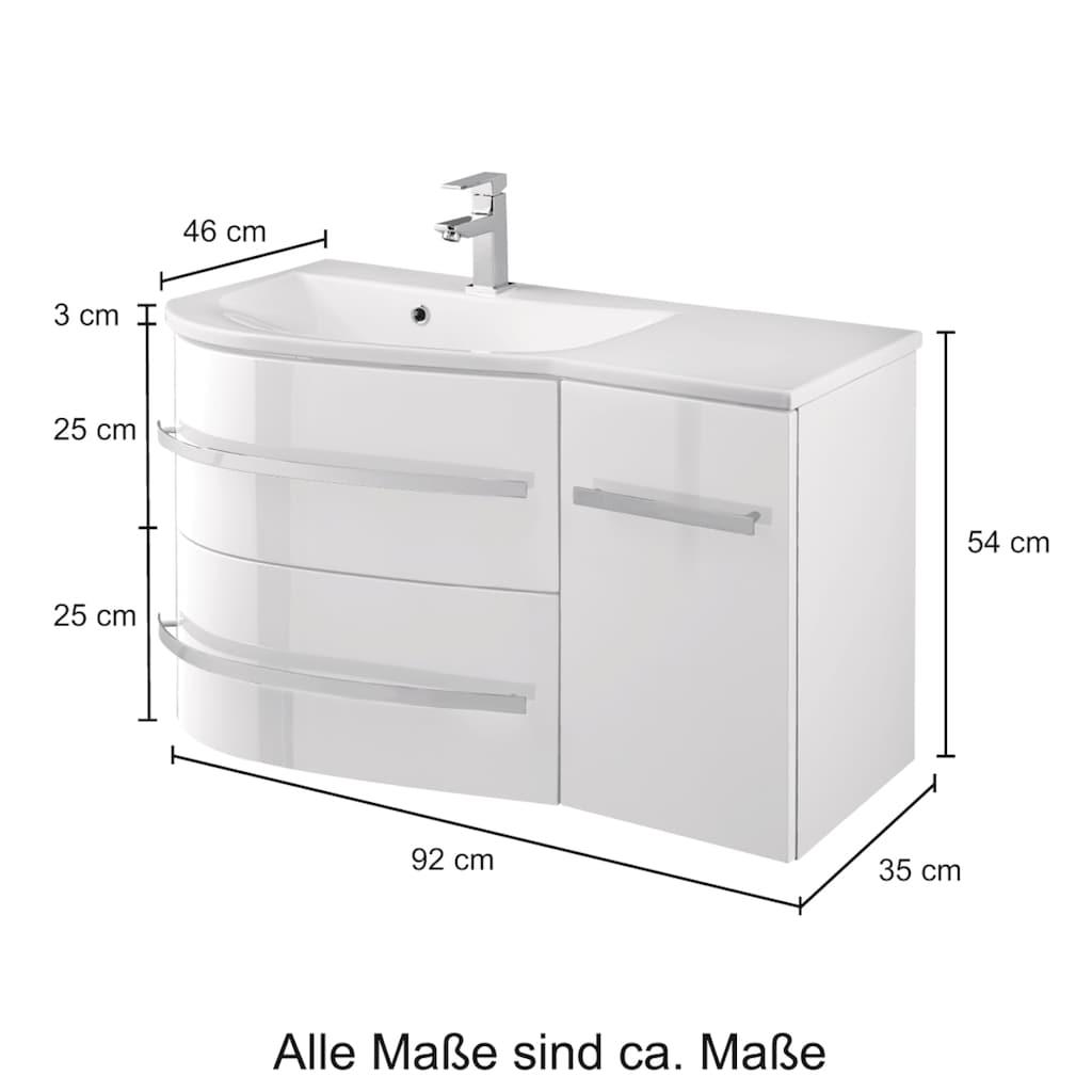 welltime Waschtisch »OSLO«, Breite 90cm, geschwungene Form, Ablage rechts