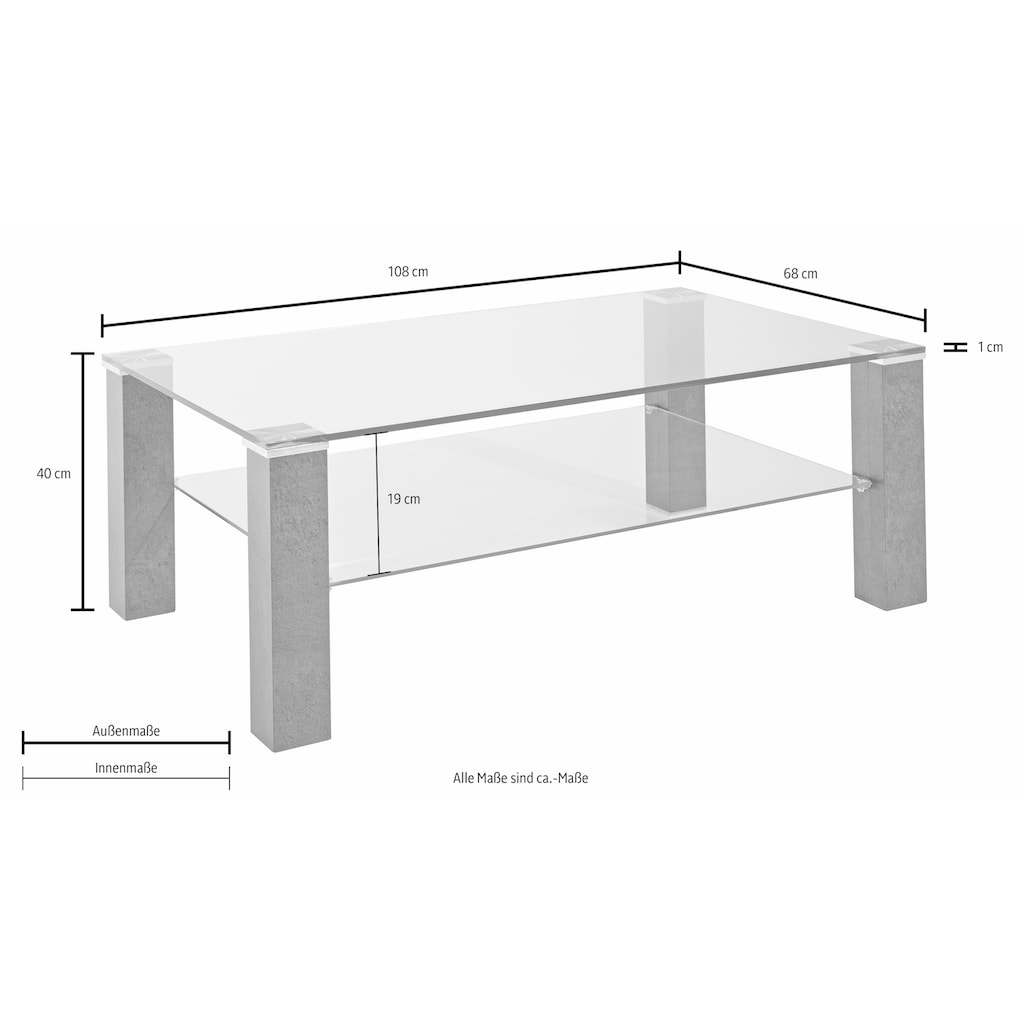 PRO Line Couchtisch, mit Klarglasplatte, rechteckig