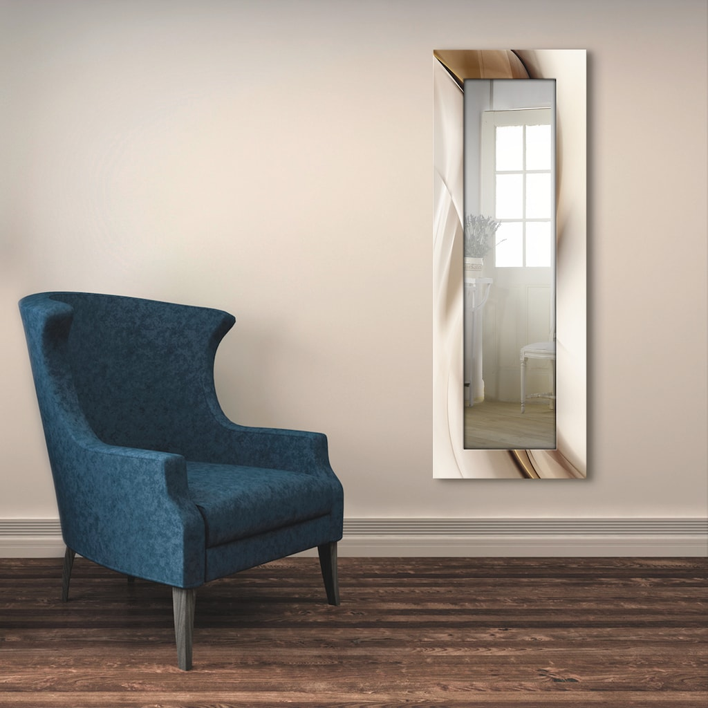Artland Wandspiegel »Braune abstrakte Welle«, gerahmter Ganzkörperspiegel mit Motivrahmen, geeignet für kleinen, schmalen Flur, Flurspiegel, Mirror Spiegel gerahmt zum Aufhängen