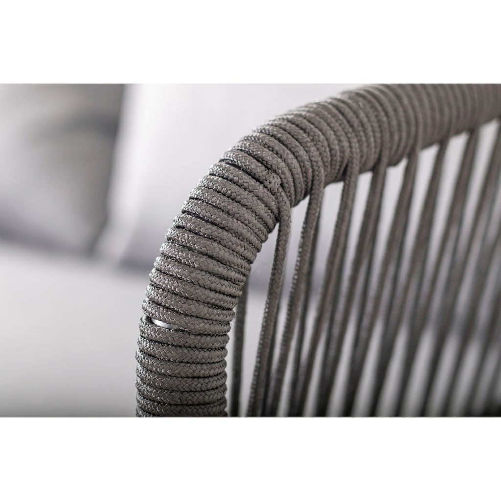 Homexperts Loungeset »Comfy«, (12 tlg.), mit modernem Seilgeflecht, Massivholz und hochwertigen Auflagen