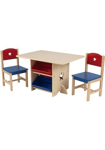 KidKraft® Kindersitzgruppe »Tisch mit Aufbewahrungsboxen und 2 Stühlen, Sternchen«, (3... kaufen
