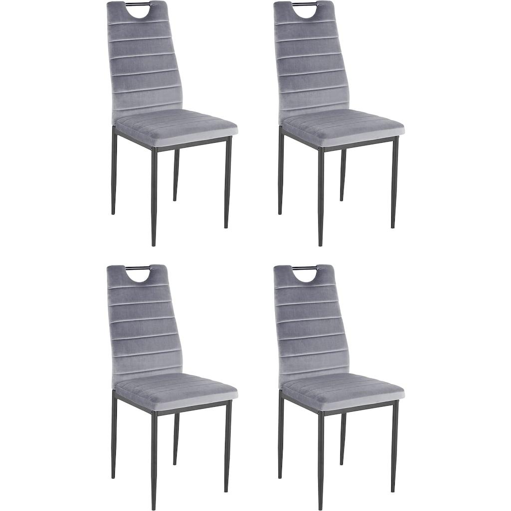 my home Esszimmerstuhl »Mandy«, (2 oder 4 Stück) mit Samtbezug, Rückenlehne mit Griff zum einfachen Zurückziehen