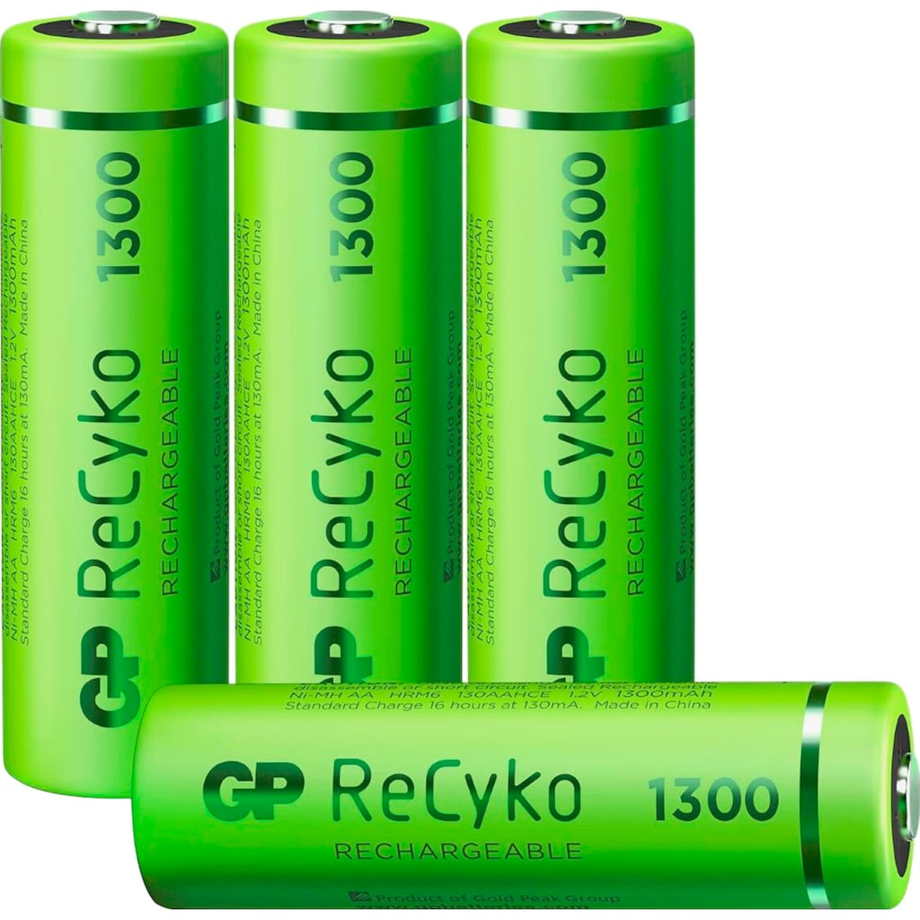 GP Batteries Akku »AA Akku GP NiMH 1300 mAh ReCyko 1,2V 4 Stück«, AA, 1300 mAh