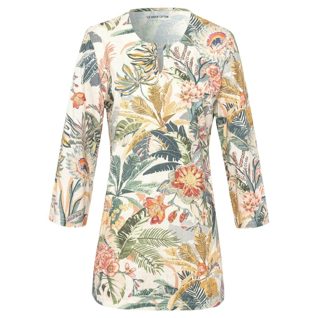 Green Cotton 3/4-Arm-Shirt »Splitneck-Shirt«, Dekorative Naht