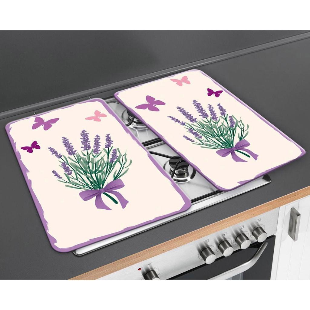 WENKO Herd-Abdeckplatte »Lavendel-Bouquet«, (Set, 2 tlg.), kratzfest