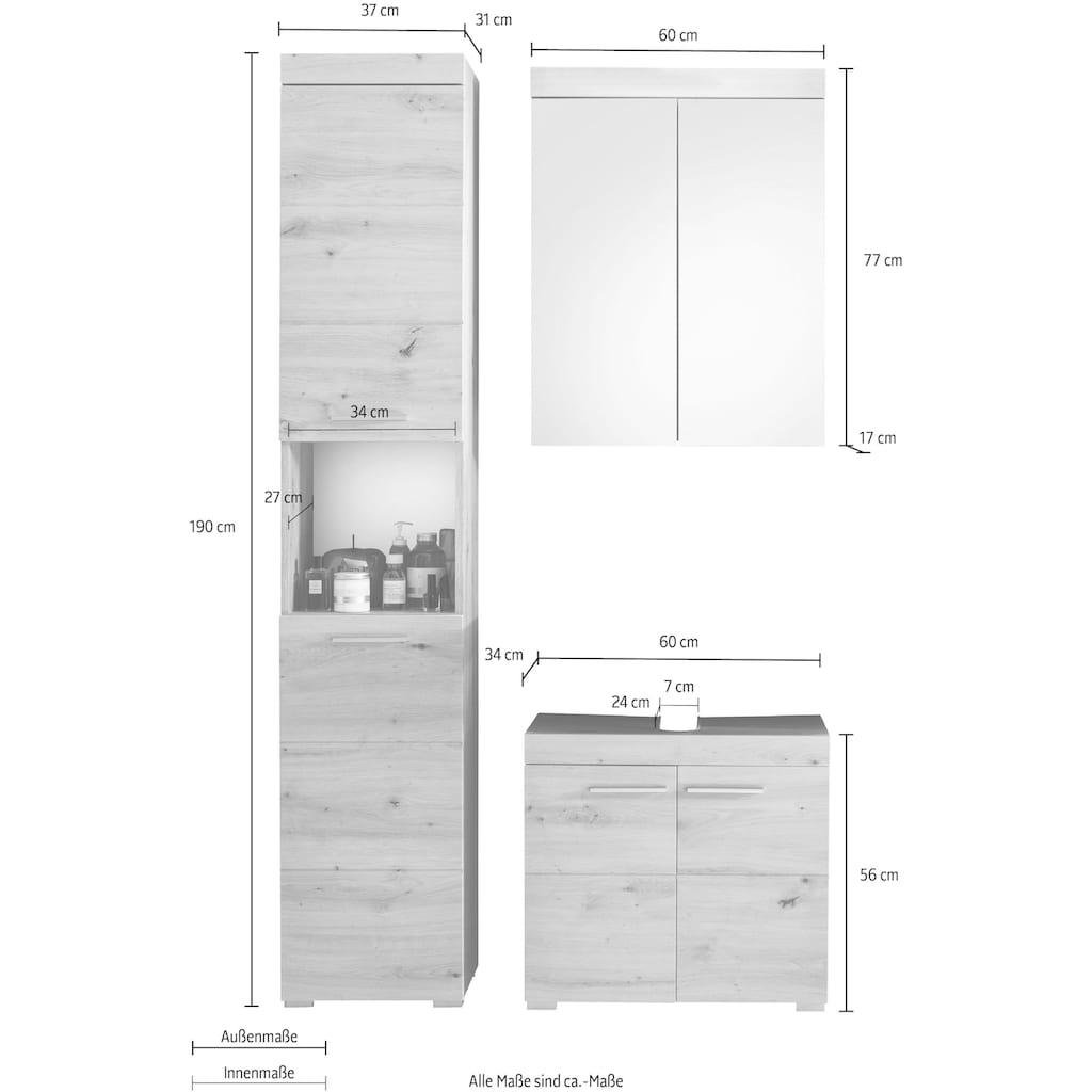 trendteam Badmöbel-Set »Amanda«, (Set, 3 St.), mit Spiegelschrank, Hochschrank und Waschbeckenunterschrank, Zwischenböden hinter den Türen, MDF-Fronten in Hochglanz- oder Holzoptik