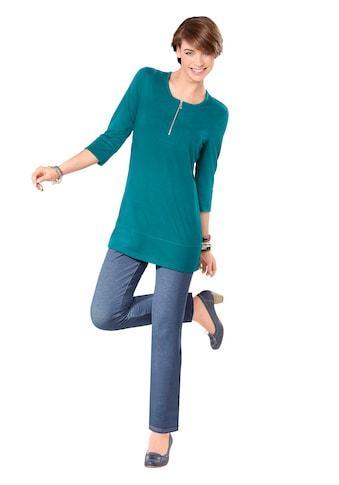 Classic Basics Longshirt mit silberfarbenem Reißverschluss am Ausschnitt kaufen