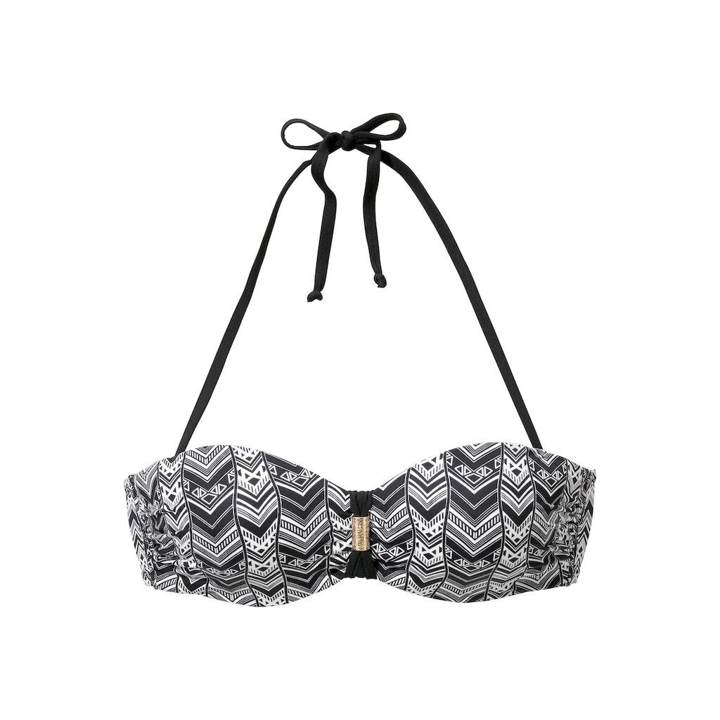 LASCANA Bügel-Bandeau-Bikini, mit grafischem schwarz-weiß Design