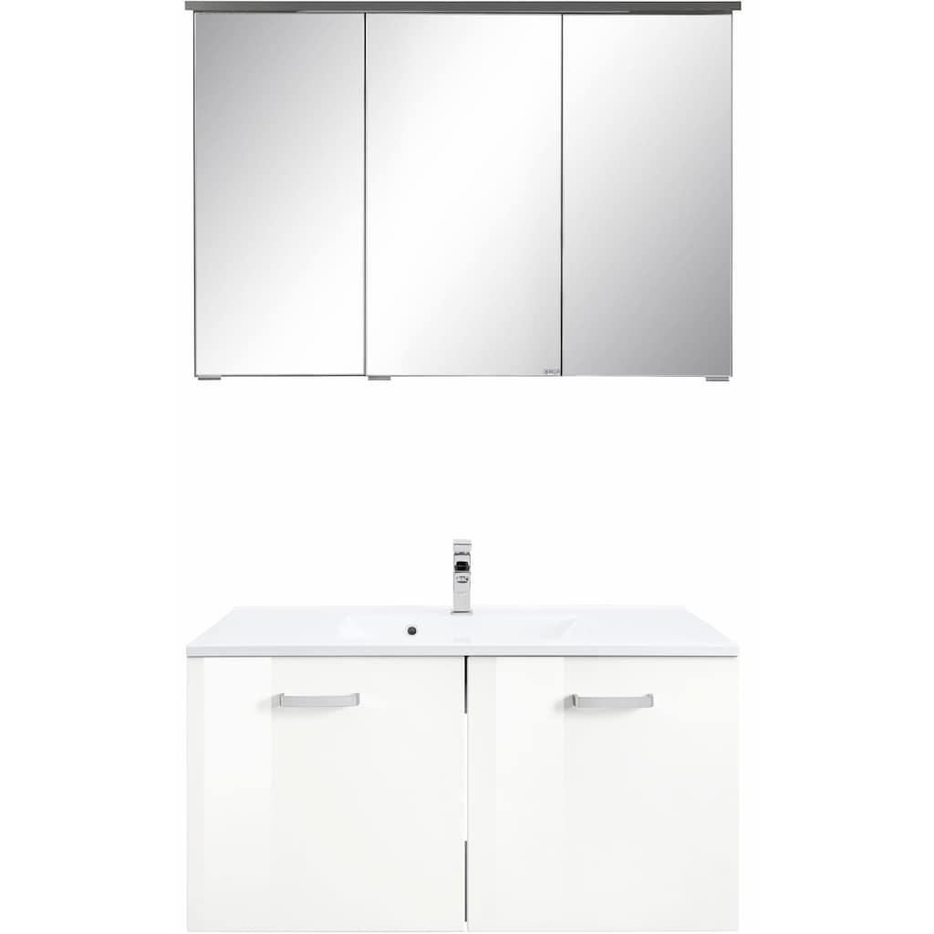 HELD MÖBEL Badmöbel-Set »Ravenna«, (2 St.), Breite 90 cm, Spiegelschrank und Waschtisch