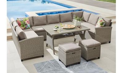 KONIFERA Loungeset »Rotterdam«, (20 St.), 3x Sofa, 2 Hocker, Tisch 12x82 cm, Polyrattan kaufen