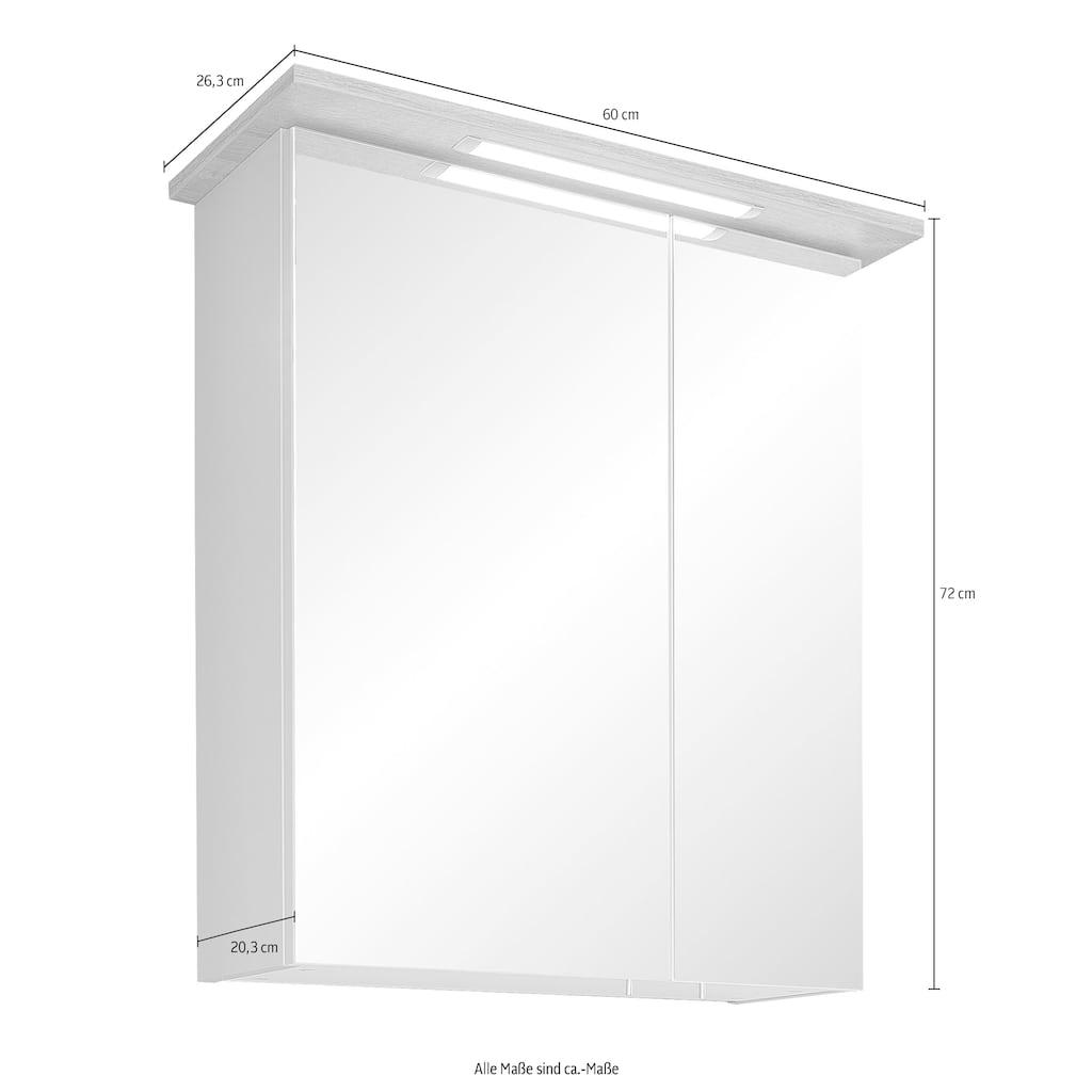 PELIPAL Badmöbel-Set »Salvie«, (5 St.), aus Midi-, Unter-, Hänge- und Waschbeckenunterschrank und Spiegelschrank ink. LED-Beleuchtung, Holzgriff, Türdämpfer