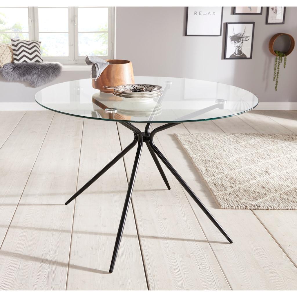 Glastisch »Silvi«, rund, Ø 110 cm, schwarzes Metallgestell