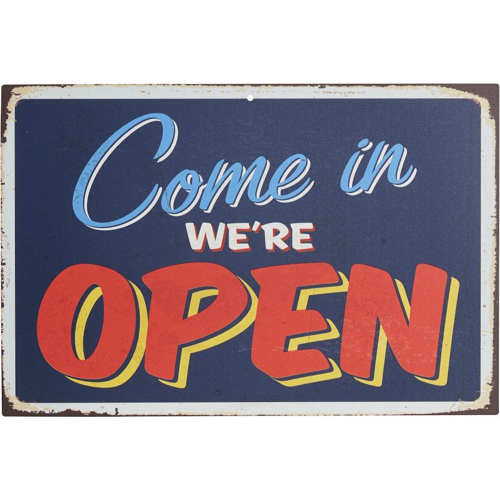 Home affaire Metallbild »Come in we´re open«, Maße (B/H): 45/30 cm