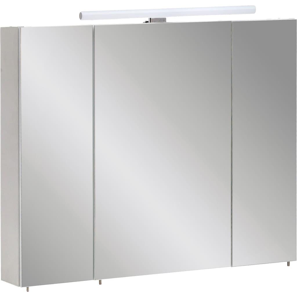 Schildmeyer Spiegelschrank »Nikosia«, Breite 80 cm, 3-türig, LED-Beleuchtung, Schalter-/Steckdosenbox, Glaseinlegeböden, Made in Germany