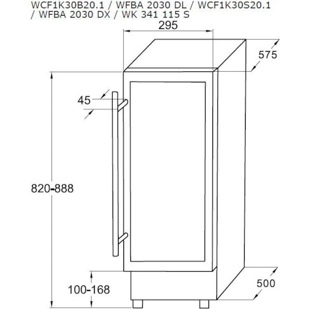 Amica Einbauweinkühlschrank »WK 341 115 S«, für 20 Standardflaschen á 075l