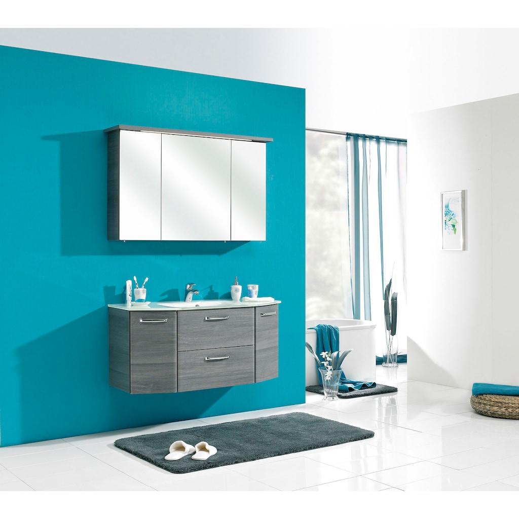 PELIPAL Badmöbel-Set »Quickset 328«, (2 St.), Spiegelschrank inkl. LED-Beleuchtung, Waschtisch-Kombination, Glasbecken, Metallgriffe, Türdämpfer