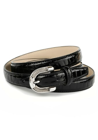 Anthoni Crown Ledergürtel, Lackledergürtel mit Krokomuster, elegante Schließe kaufen