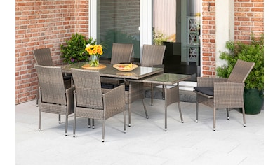 MERXX Gartenmöbelset »Sevilla«, (7 tlg.), 6 Sessel mit SItzkissen, ausziehbarer Tisch,... kaufen