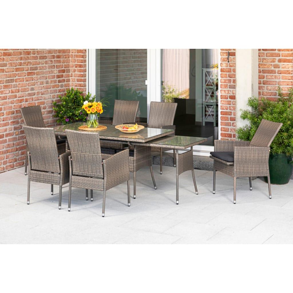 MERXX Gartenmöbelset »Sevilla«, (7 tlg.), 6 Sessel mit SItzkissen, ausziehbarer Tisch, steinbeige