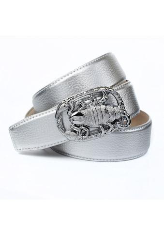 Anthoni Crown Ledergürtel, Schließe mit Skorpion-Motiv, Metallic-Finish kaufen