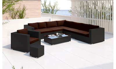 BAIDANI Loungeset »Blizzard schwarz«, 27 - tlg., Ecksofa, Sessel, Hocker, Tisch, Alu/Polyester kaufen