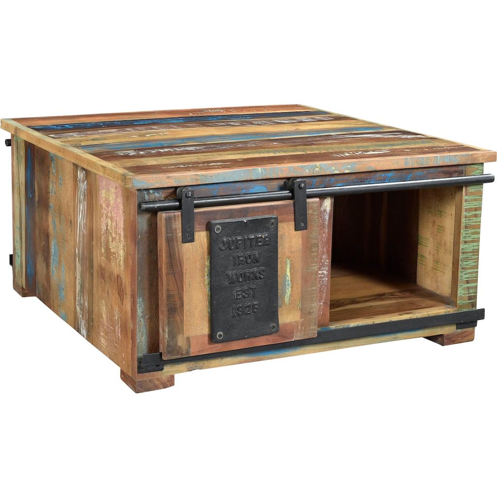 SIT Couchtisch »Jupiter«, aus recyceltem Altholz, mit Schiebetüren, Shabby Chic, Vintage, quadratisch