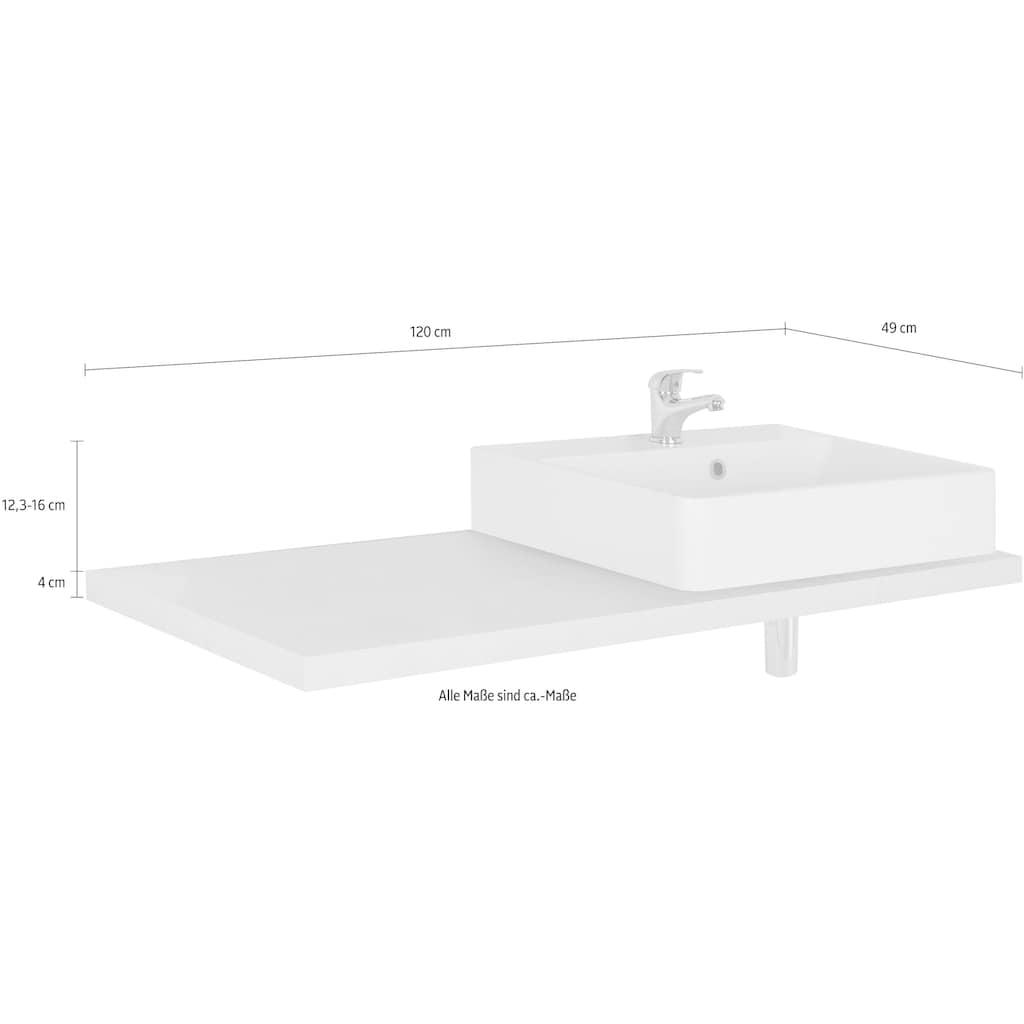 MARLIN Waschtisch »Laos 3110«, Breite 120 cm, Farbe Waschtischplatte & Waschbeckenart wählbar, Becken rechts